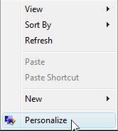 Changing font size in Windows Vista - Step 1
