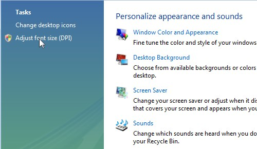 Changing font size in Windows Vista - Step 2