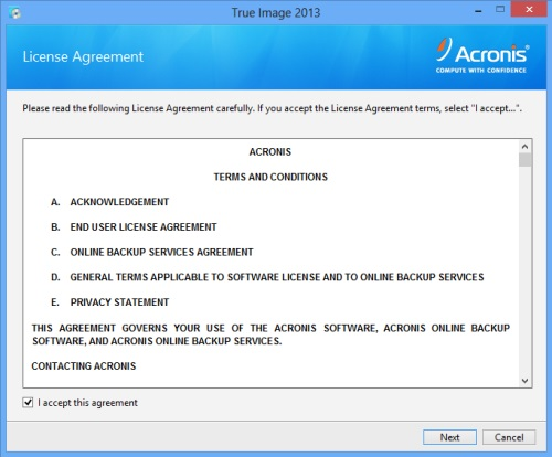 Install Acronis True Image 2013 - Step 2