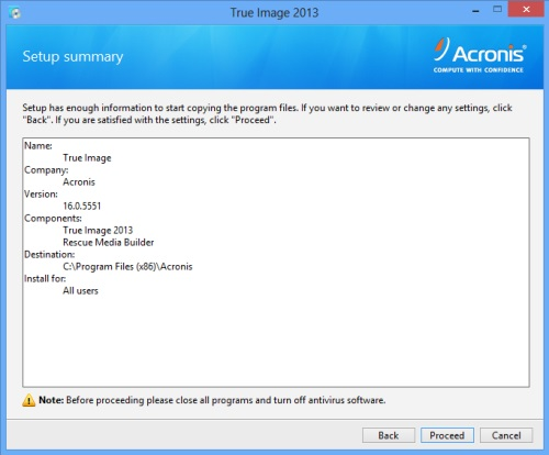 Install Acronis True Image 2013 - Step 5