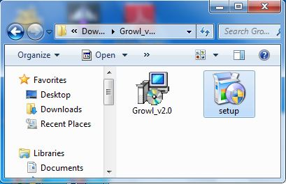 Install Growl - Running the right file