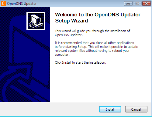 Install OpenDNS Updater step 1