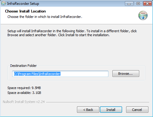 Install InfraRecorder - Step 2