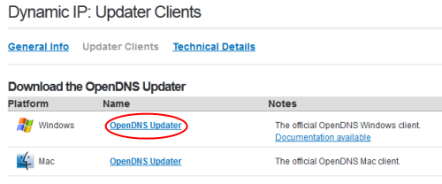 Getting the OpenDNS Updater tool