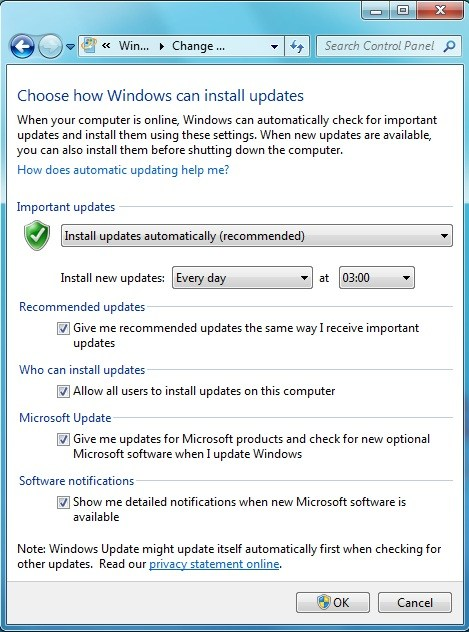Windows 7 update options