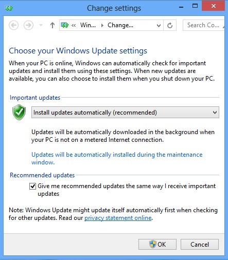 Windows 8 update options