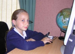 Little girl using the internet