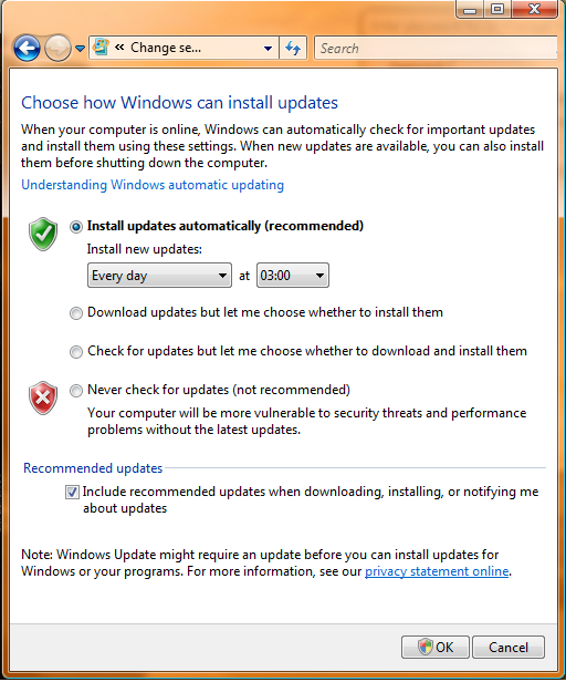 Windows Vista update options