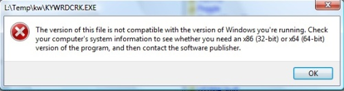 Windows Vista compatibility problems trying to run a 16-bit application on Windows 64-bit
