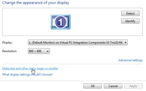 Changing font size in Windows 7 - Step 2