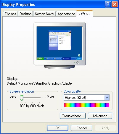 Changing screen resolution in Windows XP - Step 2