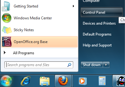 Launching the control panel in Windows 7