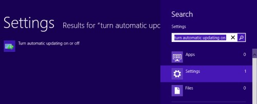 Launching update options in Windows 8