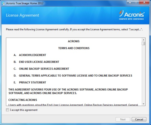 Install Acronis True Image 2012 - Step 2