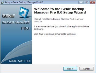 Genie Backup Manager installation - step 1