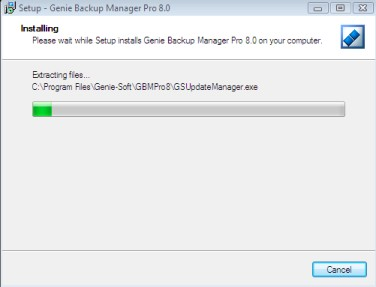 Genie Backup Manager installation - step 7