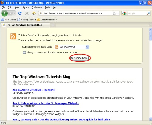 Adding an RSS feed to Firefox - Step 1