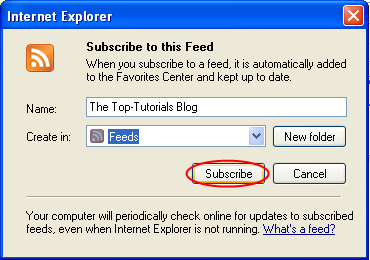 Adding an RSS feed in IE - Step 2