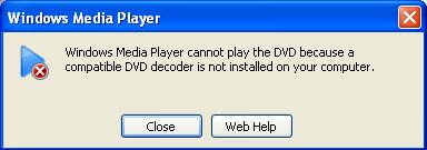 Windows XP can't play a DVD