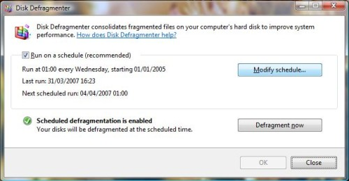 Vista Disk Defragmenter - step 1