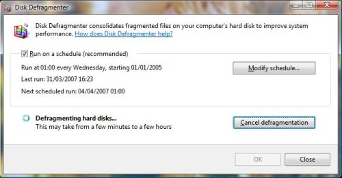 Vista Disk Defragmenter - step 3